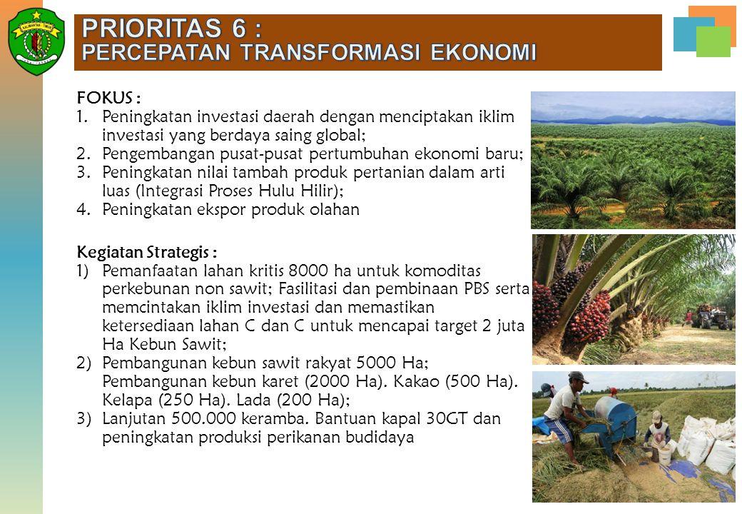 FOKUS : 1.Peningkatan investasi daerah dengan menciptakan iklim investasi yang berdaya saing global; 2.Pengembangan pusat-pusat pertumbuhan ekonomi ba