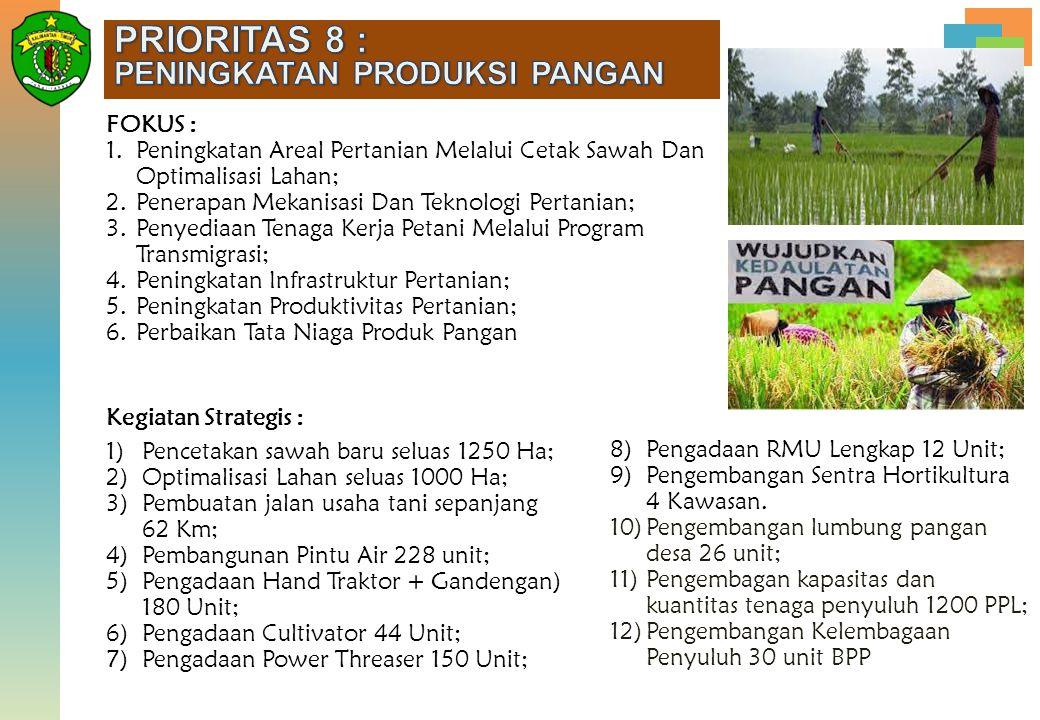 8)Pengadaan RMU Lengkap 12 Unit; 9)Pengembangan Sentra Hortikultura 4 Kawasan. 10)Pengembangan lumbung pangan desa 26 unit; 11)Pengembagan kapasitas d