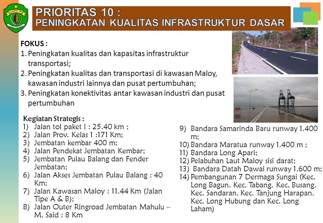 FOKUS : 1.Peningkatan kualitas dan kapasitas infrastruktur transportasi; 2.Peningkatan kualitas dan transportasi di kawasan Maloy, kawasan industri la