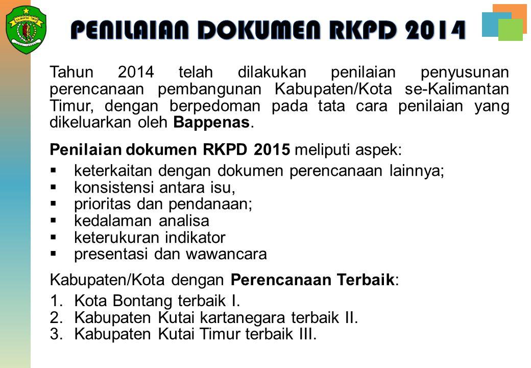 Tahun 2014 telah dilakukan penilaian penyusunan perencanaan pembangunan Kabupaten/Kota se-Kalimantan Timur, dengan berpedoman pada tata cara penilaian