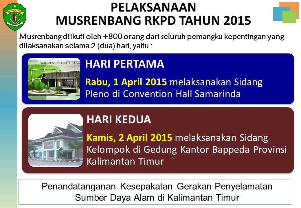 PELAKSANAAN MUSRENBANG RKPD TAHUN 2015 HARI PERTAMA Rabu, 1 April 2015 melaksanakan Sidang Pleno di Convention Hall Samarinda Musrenbang diikuti oleh