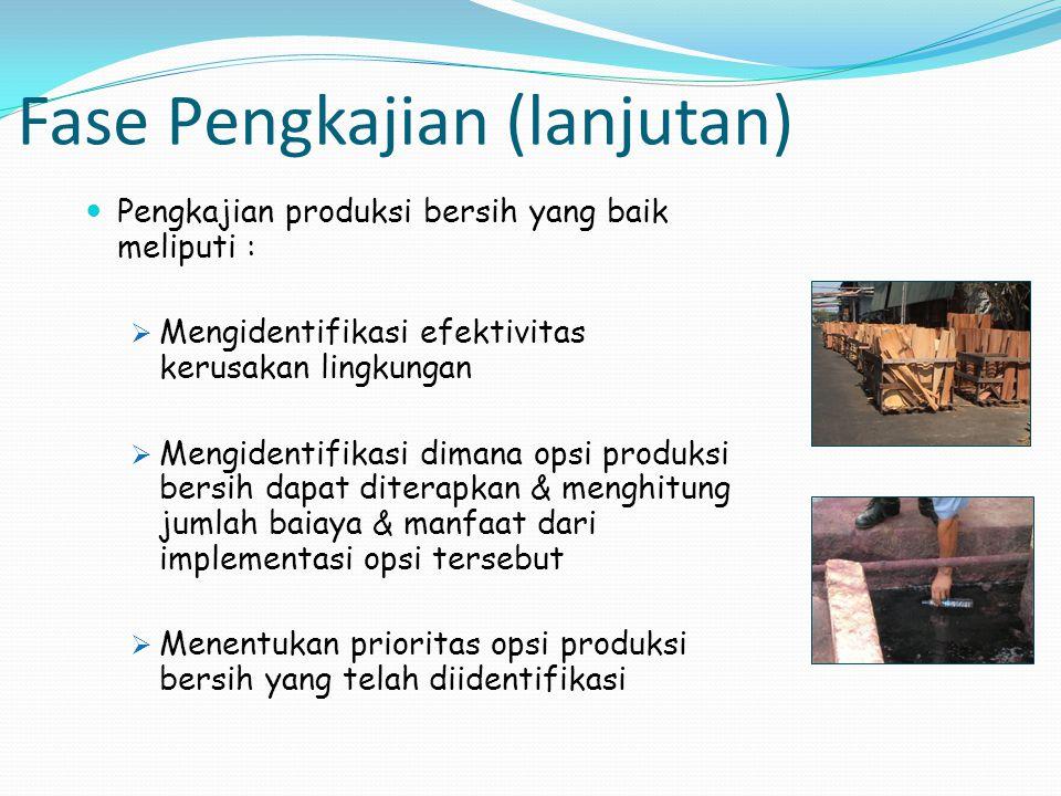 Fase Pengkajian (lanjutan) Pengkajian produksi bersih yang baik meliputi :  Mengidentifikasi efektivitas kerusakan lingkungan  Mengidentifikasi dima