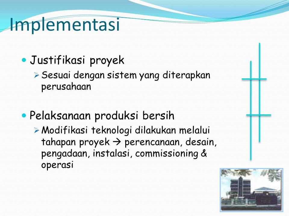 Implementasi Justifikasi proyek  Sesuai dengan sistem yang diterapkan perusahaan Pelaksanaan produksi bersih  Modifikasi teknologi dilakukan melalui