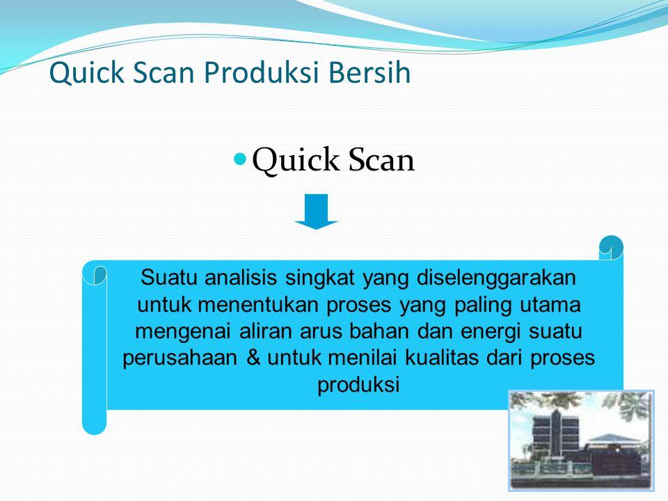 Quick Scan Produksi Bersih Quick Scan Suatu analisis singkat yang diselenggarakan untuk menentukan proses yang paling utama mengenai aliran arus bahan