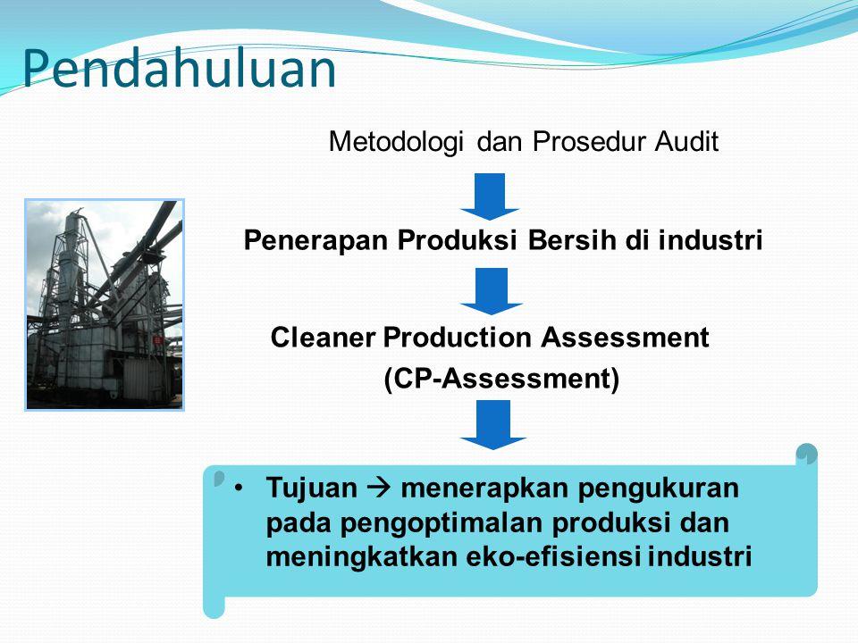 Metodologi Audit Produksi Bersih (UNEP, 2003) Pengorganisasian keperluan untuk produksi bersih Perencanaan dan Pengorganisasian Fase Pra Pengkajian Fase Pengkajian Analisis Studi Kelayakan Implementasi dan Kesinambungan Hasil Pengkajian Kesinambungan Program Produksi Bersih