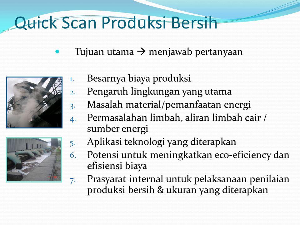 Quick Scan Produksi Bersih Tujuan utama  menjawab pertanyaan 1. Besarnya biaya produksi 2. Pengaruh lingkungan yang utama 3. Masalah material/pemanfa