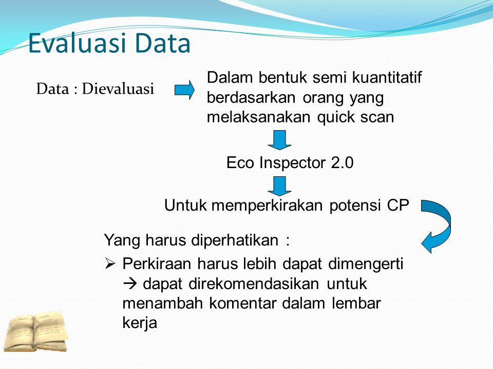 Evaluasi Data Data : Dievaluasi Dalam bentuk semi kuantitatif berdasarkan orang yang melaksanakan quick scan Untuk memperkirakan potensi CP Yang harus