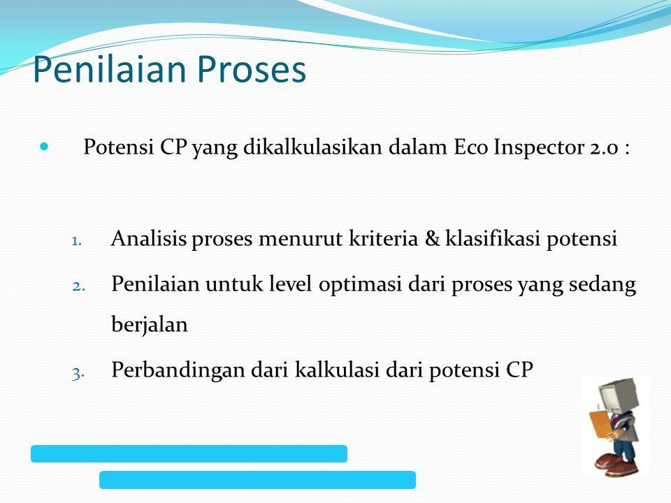 Penilaian Proses Potensi CP yang dikalkulasikan dalam Eco Inspector 2.0 : 1. Analisis proses menurut kriteria & klasifikasi potensi 2. Penilaian untuk
