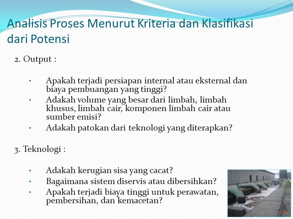 Analisis Proses Menurut Kriteria dan Klasifikasi dari Potensi 2. Output : Apakah terjadi persiapan internal atau eksternal dan biaya pembuangan yang t