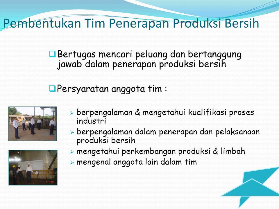 Penetapan Tujuan dan Lingkup Program Penerapan Produksi Bersih Harus ditetapkan  dapat diukur keberhasilan penerapan produksi bersih Syarat bagi keberhasilan :  Disetujui oleh semua pihak yang terlibat  Fleksibel terhadap perubahan yang mungkin terjadi  Dapat diukur dengan waktu  Program yang dibuat terarah, terstruktur & mudah dimengerti  Sesuai dengan komitmen awal perusahaan  Dapat dilaksanakan dengan metode yang ada