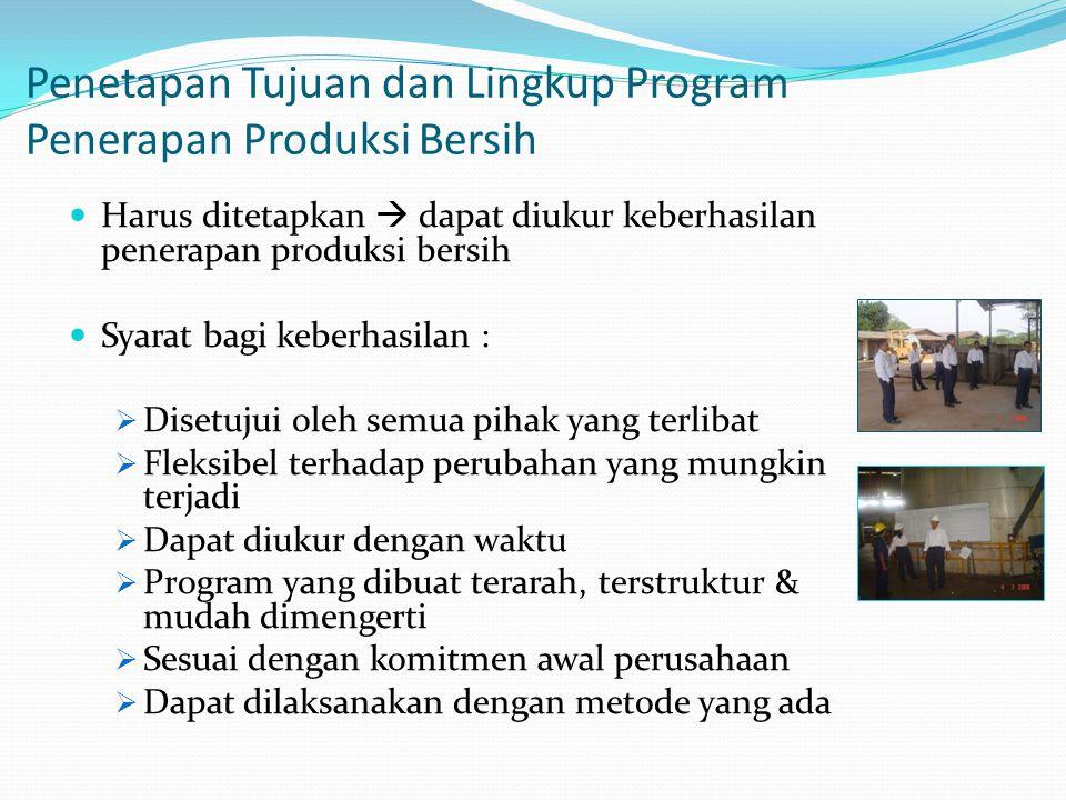 Tahap Penilaian Produksi Bersih Pengkajian produksi bersih tahap 1 : Persiapan (Quick Scan) Pengkajian produksi bersih tahap 2 : Kesetimbangan Massa Pengkajian produksi bersih tahap 3 : Sintesis Kesinambungan Produksi Bersih dalam area produksi yang lain Implementasi Pengenalan Tahapan Produksi Bersih Analisis Efektifitas (aktual/status target)