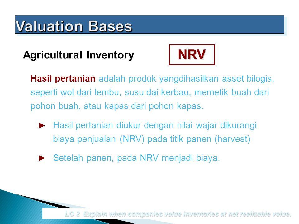 LO 2 Explain when companies value inventories at net realizable value. Agricultural Inventory Hasil pertanian adalah produk yangdihasilkan asset bilog