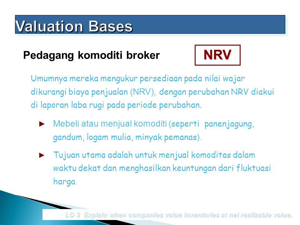 LO 2 Explain when companies value inventories at net realizable value. Pedagang komoditi broker Umumnya mereka mengukur persediaan pada nilai wajar di