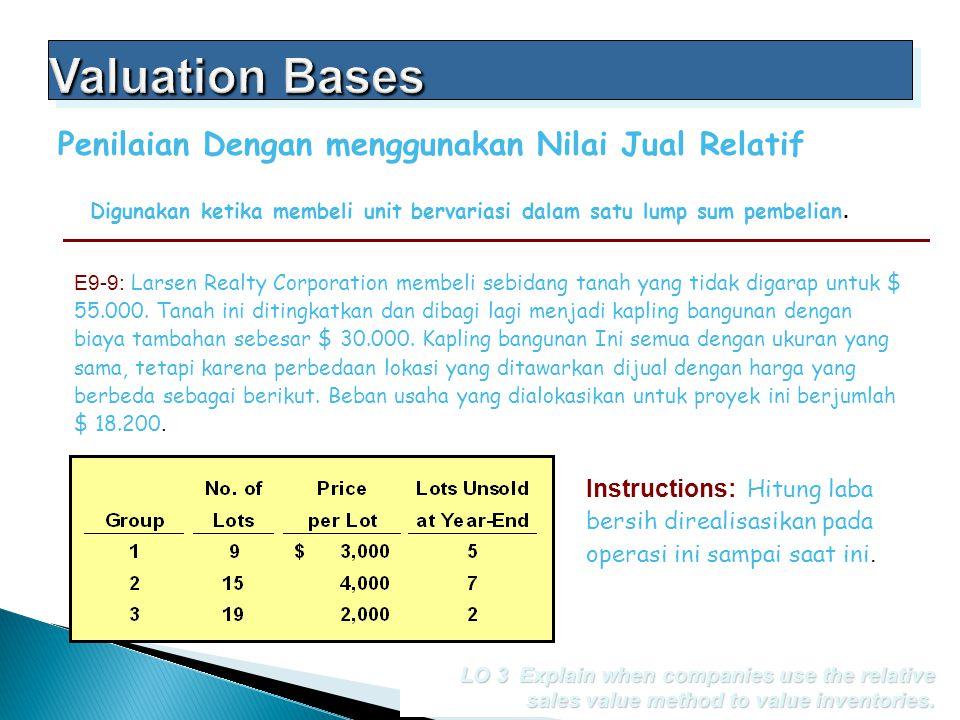 Digunakan ketika membeli unit bervariasi dalam satu lump sum pembelian. Penilaian Dengan menggunakan Nilai Jual Relatif E9-9: Larsen Realty Corporatio