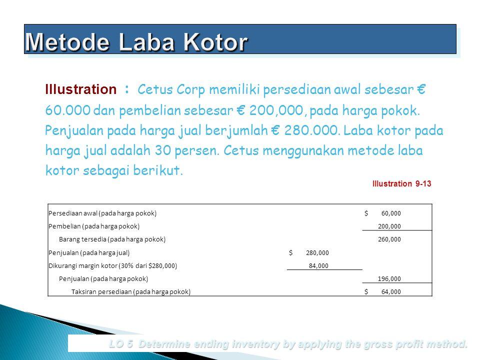 LO 5 Determine ending inventory by applying the gross profit method. Illustration : Cetus Corp memiliki persediaan awal sebesar € 60.000 dan pembelian