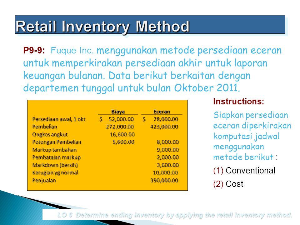 P9-9: Fuque Inc. menggunakan metode persediaan eceran untuk memperkirakan persediaan akhir untuk laporan keuangan bulanan. Data berikut berkaitan deng