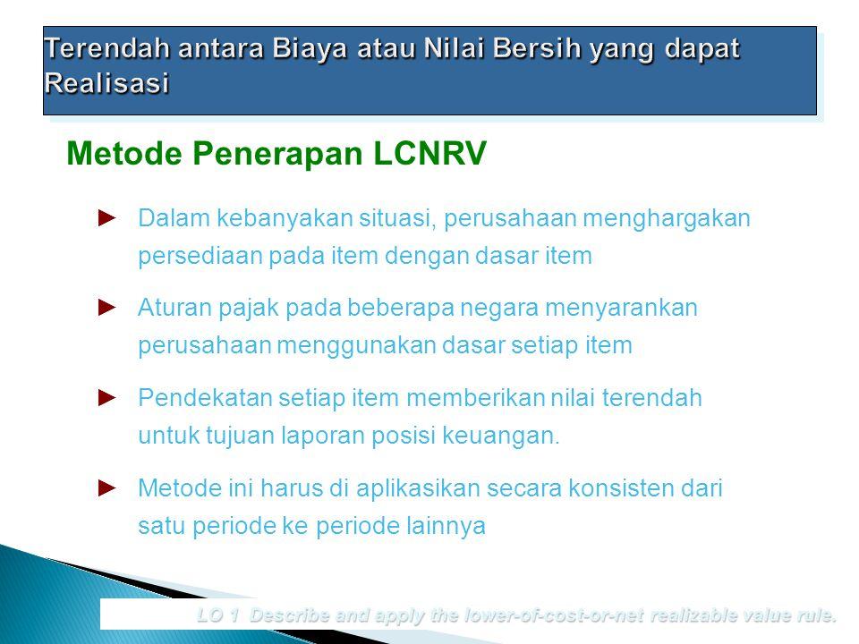 Metode Penerapan LCNRV LO 1 Describe and apply the lower-of-cost-or-net realizable value rule. ►Dalam kebanyakan situasi, perusahaan menghargakan pers