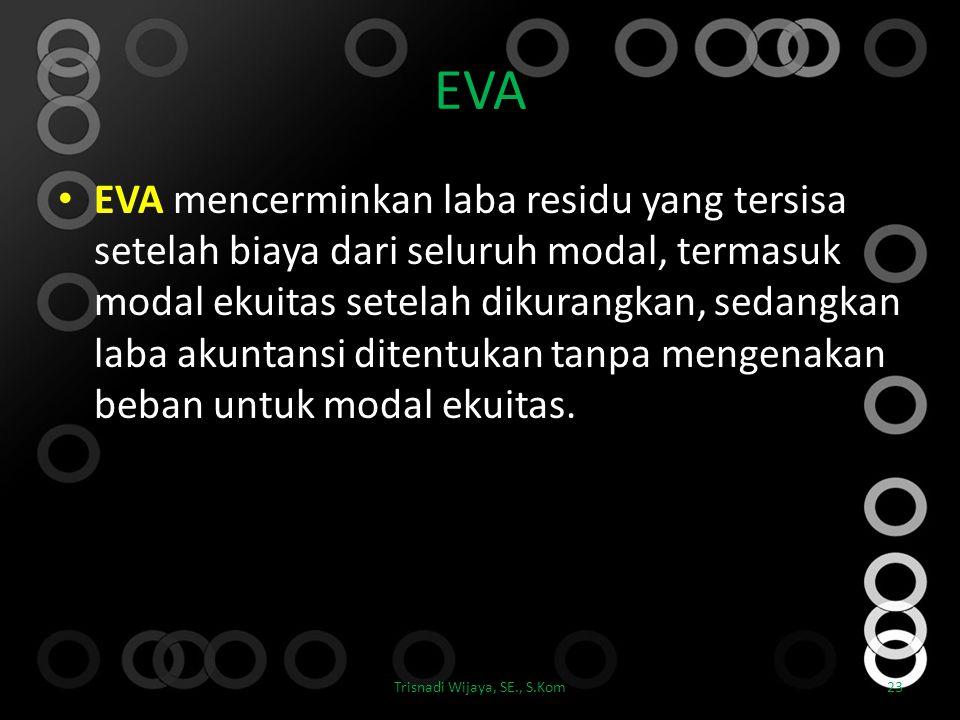 EVA EVA mencerminkan laba residu yang tersisa setelah biaya dari seluruh modal, termasuk modal ekuitas setelah dikurangkan, sedangkan laba akuntansi d