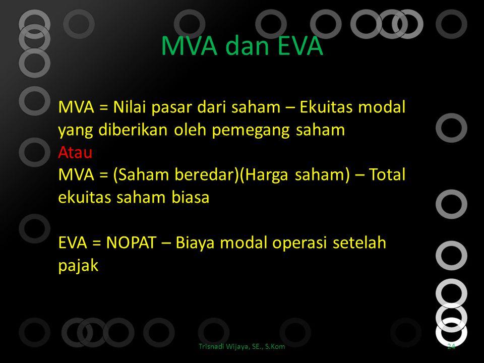 MVA dan EVA Trisnadi Wijaya, SE., S.Kom24 MVA = Nilai pasar dari saham – Ekuitas modal yang diberikan oleh pemegang saham Atau MVA = (Saham beredar)(H