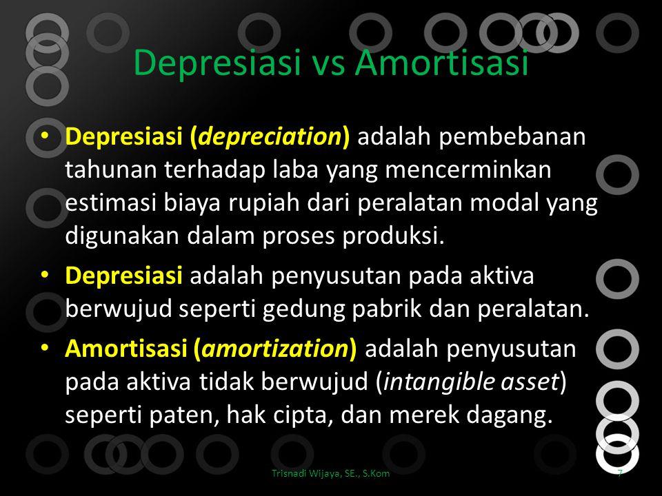Depresiasi vs Amortisasi Depresiasi (depreciation) adalah pembebanan tahunan terhadap laba yang mencerminkan estimasi biaya rupiah dari peralatan moda