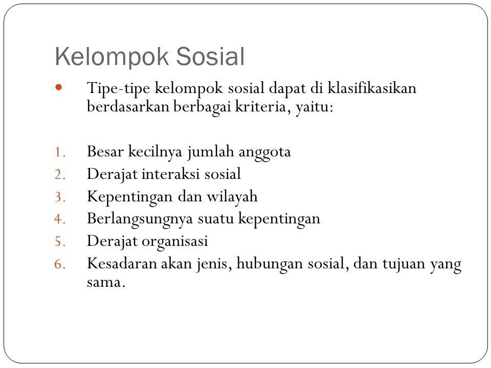 Kelompok Sosial Tipe-tipe kelompok sosial dapat di klasifikasikan berdasarkan berbagai kriteria, yaitu: 1.