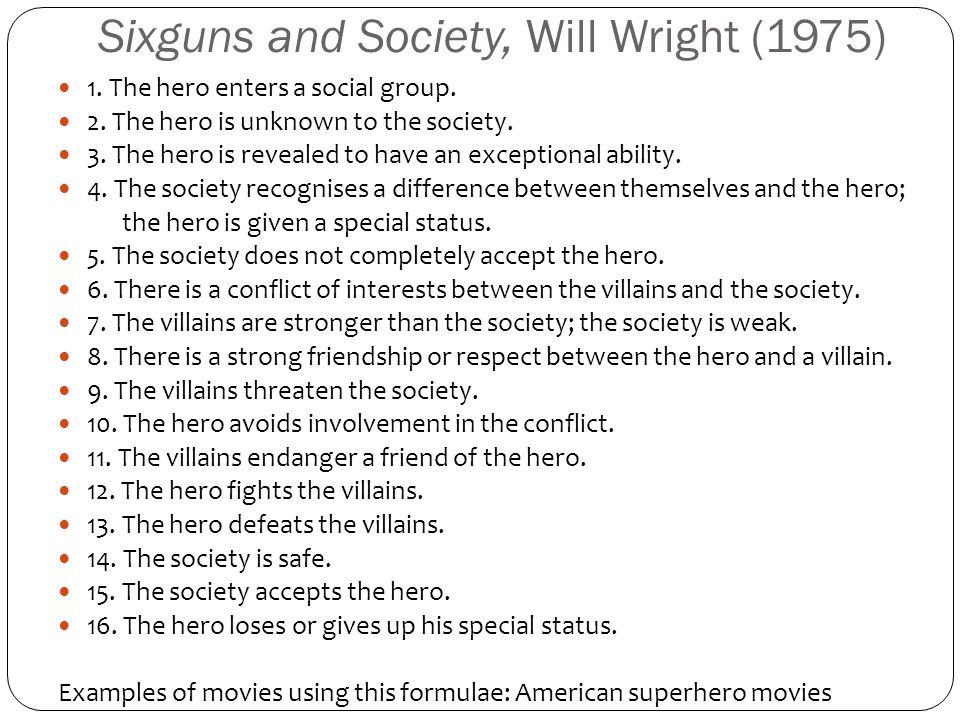 Sixguns and Society, Will Wright (1975) 1.The hero enters a social group.