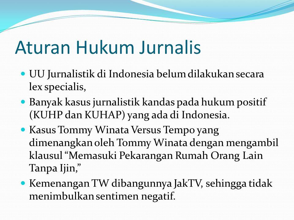 Aturan Hukum Jurnalis UU Jurnalistik di Indonesia belum dilakukan secara lex specialis, Banyak kasus jurnalistik kandas pada hukum positif (KUHP dan K