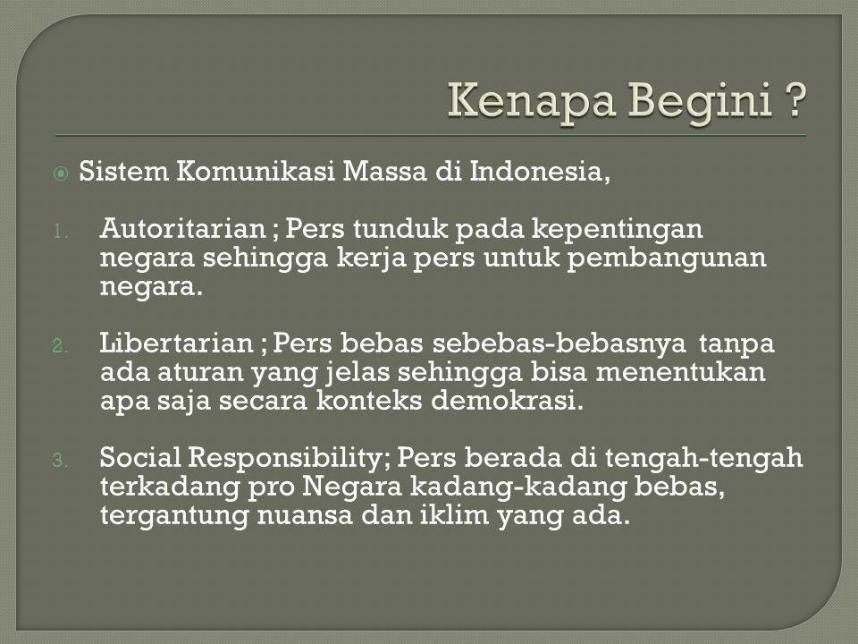  Sistem Komunikasi Massa di Indonesia, 1. Autoritarian ; Pers tunduk pada kepentingan negara sehingga kerja pers untuk pembangunan negara. 2. Liberta