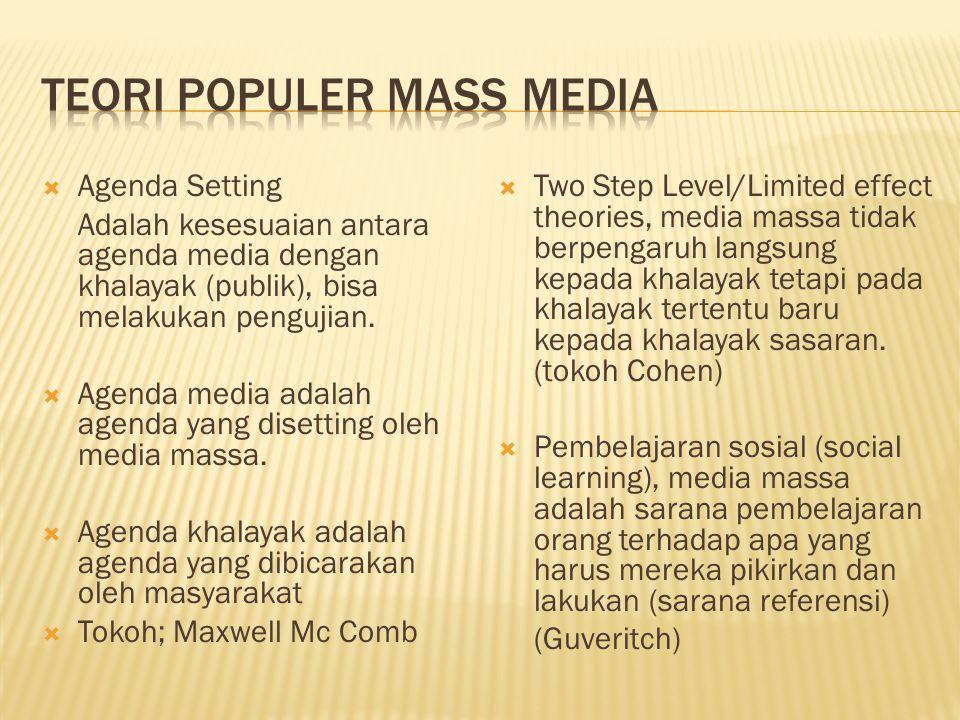  Agenda Setting Adalah kesesuaian antara agenda media dengan khalayak (publik), bisa melakukan pengujian.  Agenda media adalah agenda yang disetting