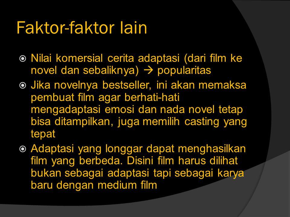 Faktor-faktor lain  Nilai komersial cerita adaptasi (dari film ke novel dan sebaliknya)  popularitas  Jika novelnya bestseller, ini akan memaksa pe