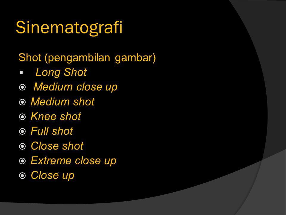 Sinematografi Shot (pengambilan gambar)  Long Shot  Medium close up  Medium shot  Knee shot  Full shot  Close shot  Extreme close up  Close up