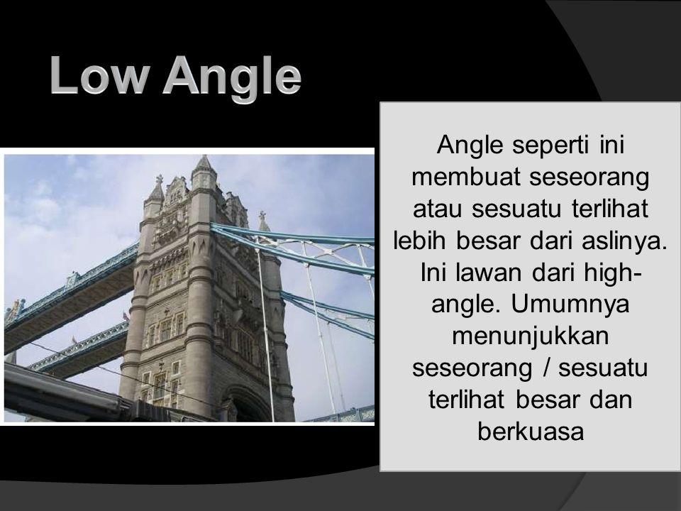Angle seperti ini membuat seseorang atau sesuatu terlihat lebih besar dari aslinya. Ini lawan dari high- angle. Umumnya menunjukkan seseorang / sesuat