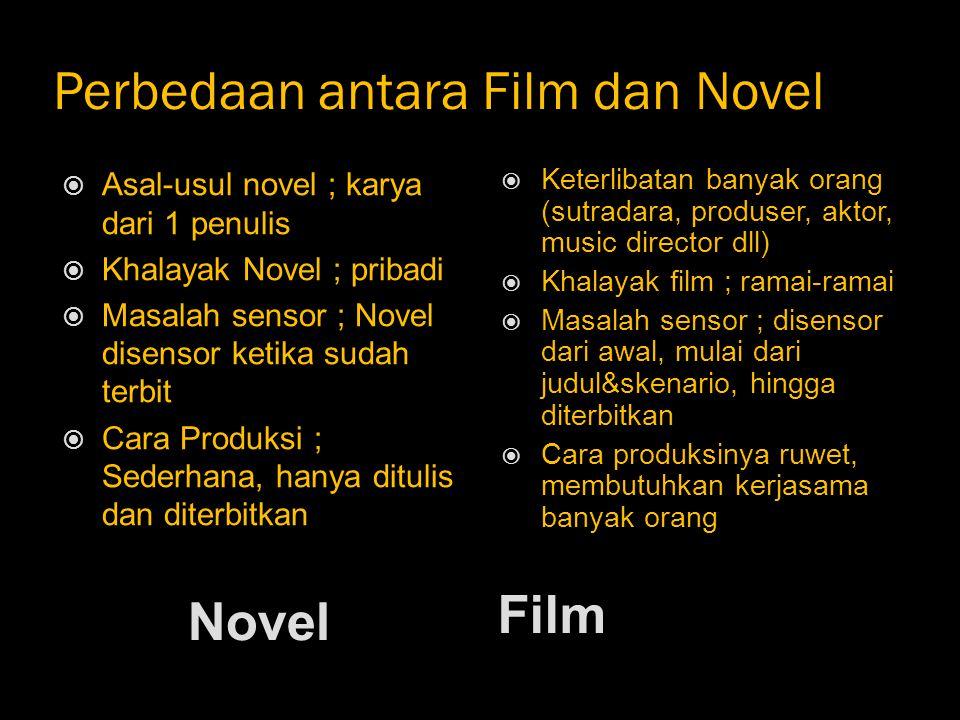 Perbedaan antara Film dan Novel Novel Film  Asal-usul novel ; karya dari 1 penulis  Khalayak Novel ; pribadi  Masalah sensor ; Novel disensor ketik
