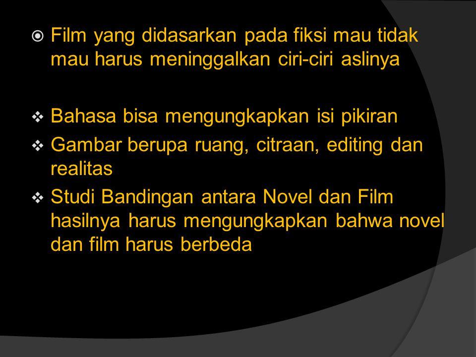  Film yang didasarkan pada fiksi mau tidak mau harus meninggalkan ciri-ciri aslinya  Bahasa bisa mengungkapkan isi pikiran  Gambar berupa ruang, ci