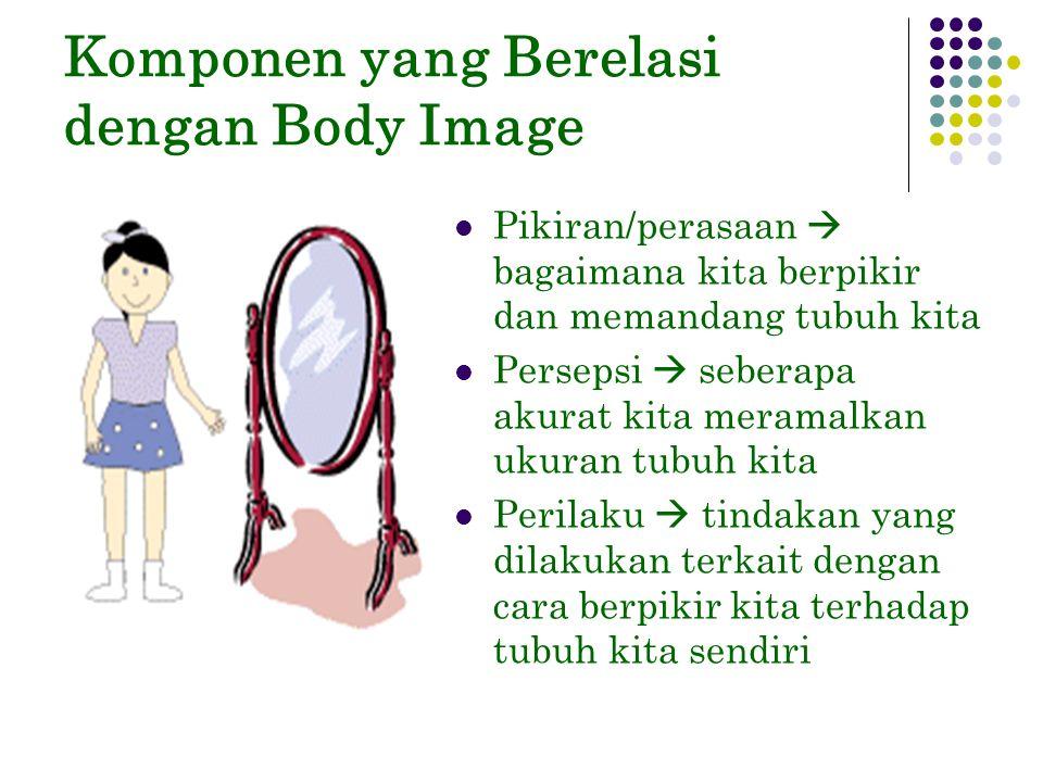 Komponen yang Berelasi dengan Body Image Pikiran/perasaan  bagaimana kita berpikir dan memandang tubuh kita Persepsi  seberapa akurat kita meramalkan ukuran tubuh kita Perilaku  tindakan yang dilakukan terkait dengan cara berpikir kita terhadap tubuh kita sendiri