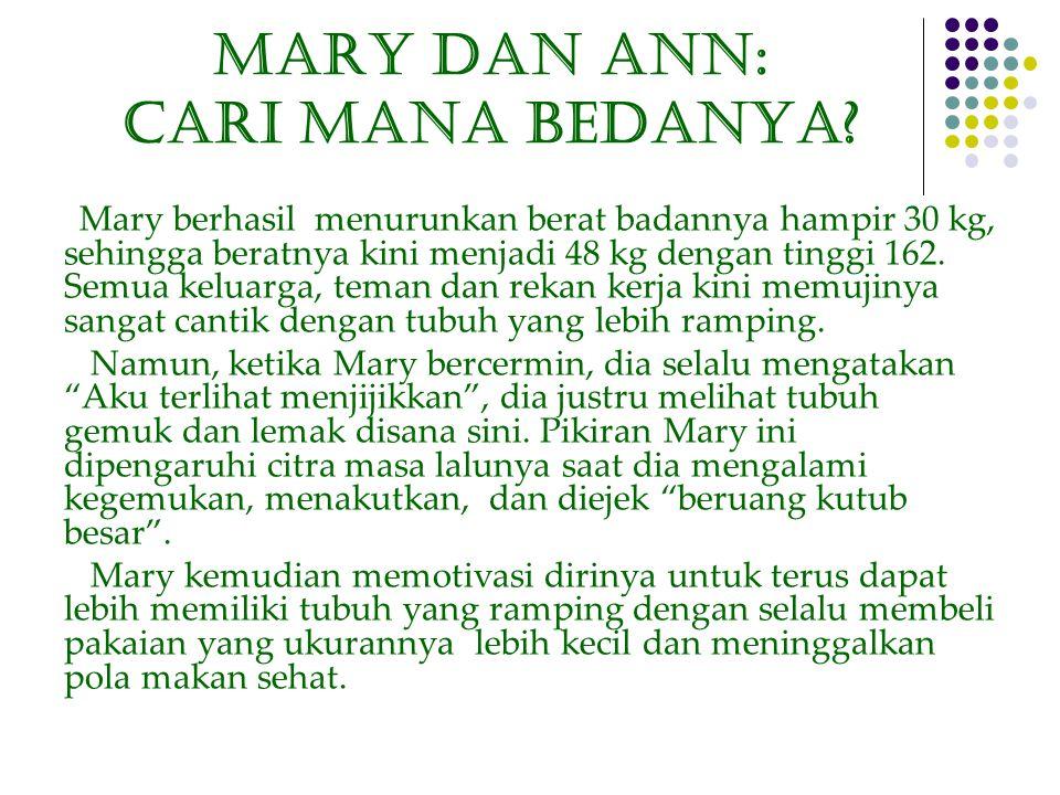 Mary dan ANN: CARI MANA BedaNYA? Mary berhasil menurunkan berat badannya hampir 30 kg, sehingga beratnya kini menjadi 48 kg dengan tinggi 162. Semua k