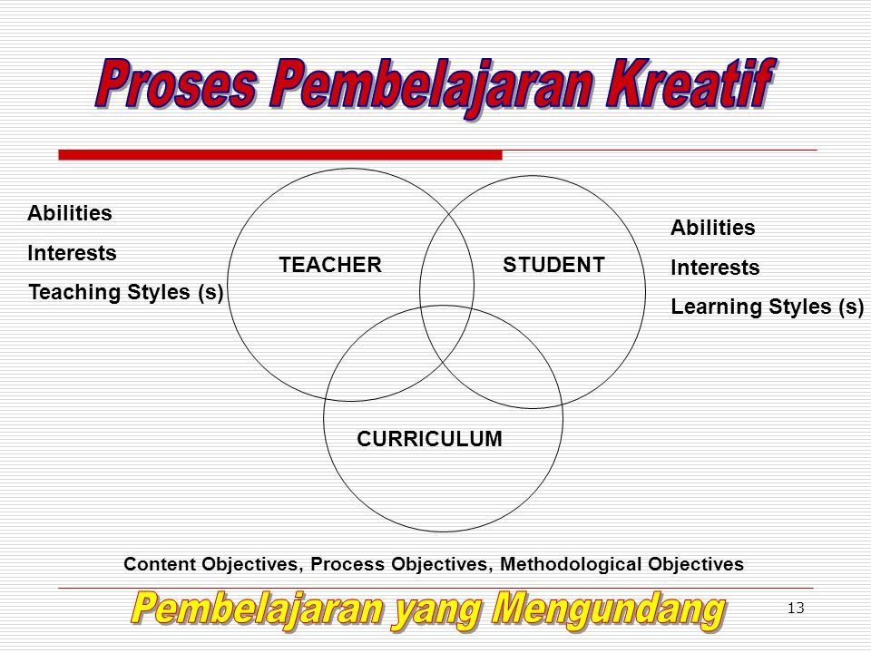 13 TEACHERSTUDENT CURRICULUM Content Objectives, Process Objectives, Methodological Objectives Abilities Interests Teaching Styles (s) Abilities Interests Learning Styles (s)
