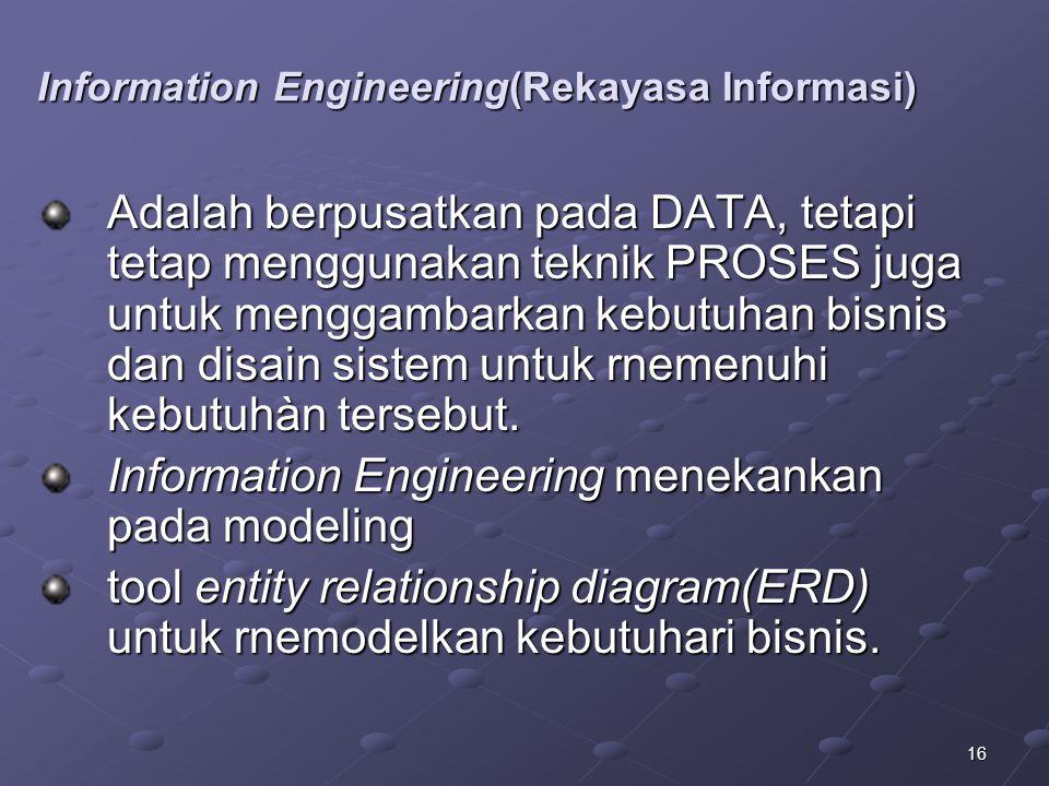 16 Information Engineering(Rekayasa Informasi) Adalah berpusatkan pada DATA, tetapi tetap menggunakan teknik PROSES juga untuk menggambarkan kebutuhan bisnis dan disain sistem untuk rnemenuhi kebutuhàn tersebut.