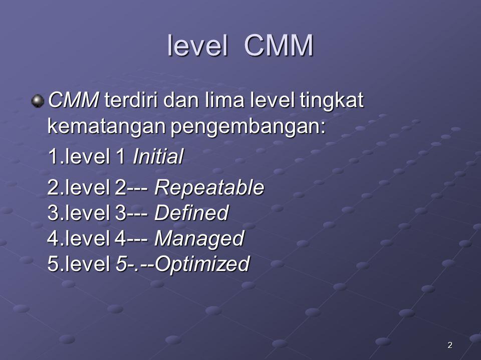 2 level CMM CMM terdiri dan lima level tingkat kematangan pengembangan: 1.level 1 Initial 2.level 2--- Repeatable 3.level 3--- Defined 4.level 4--- Managed 5.level 5-.--Optimized