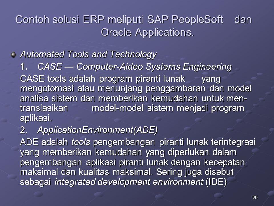 20 Contoh solusi ERP meliputi SAP PeopleSoftdan Oracle Applications.