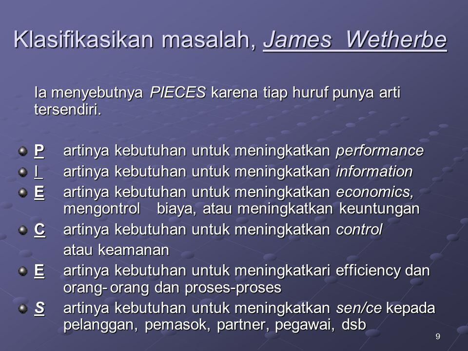 9 Klasifikasikan masalah, James Wetherbe Ia menyebutnya PIECES karena tiap huruf punya arti tersendiri.