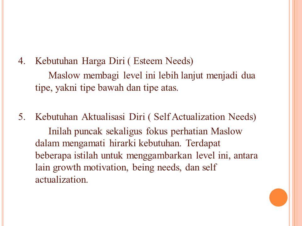 4.Kebutuhan Harga Diri ( Esteem Needs) Maslow membagi level ini lebih lanjut menjadi dua tipe, yakni tipe bawah dan tipe atas. 5.Kebutuhan Aktualisasi