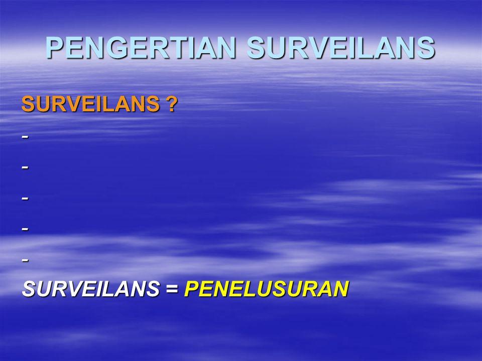 POKOK BAHASAN  Pengertian surveilans  Tujuan surveilans  Metode surveillans  Peran petugas lapang dalam surveilans penyakit  Pelaporan kasus AI