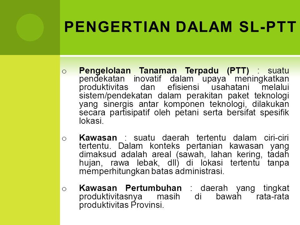 PENGERTIAN DALAM SL-PTT o Pengelolaan Tanaman Terpadu (PTT) : suatu pendekatan inovatif dalam upaya meningkatkan produktivitas dan efisiensi usahatani
