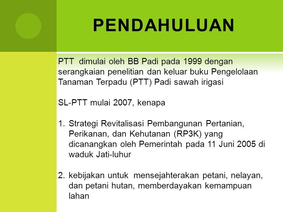 PENDAHULUAN PTT dimulai oleh BB Padi pada 1999 dengan serangkaian penelitian dan keluar buku Pengelolaan Tanaman Terpadu (PTT) Padi sawah irigasi SL-P