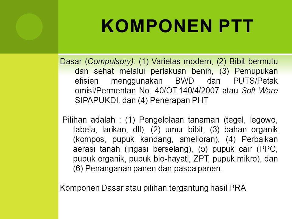 KOMPONEN PTT Dasar (Compulsory): (1) Varietas modern, (2) Bibit bermutu dan sehat melalui perlakuan benih, (3) Pemupukan efisien menggunakan BWD dan P