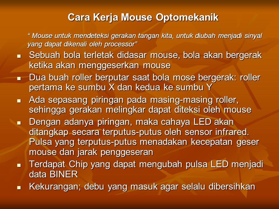 """Cara Kerja Mouse Optomekanik """" Mouse untuk mendeteksi gerakan tangan kita, untuk diubah menjadi sinyal yang dapat dikenali oleh processor"""" Sebuah bola"""