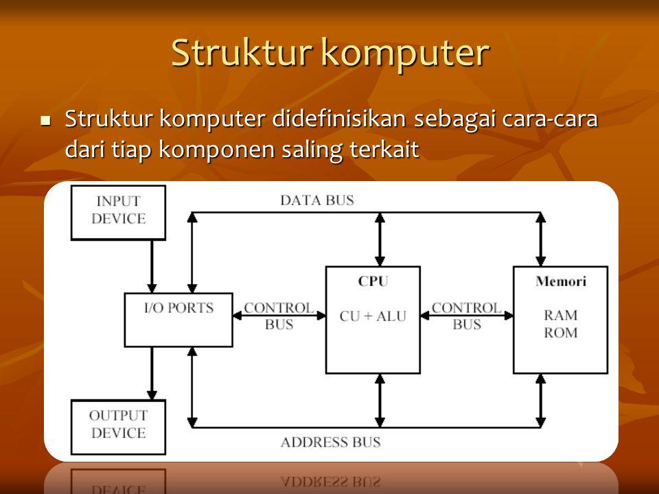 Struktur komputer Struktur komputer didefinisikan sebagai cara-cara dari tiap komponen saling terkait Struktur komputer didefinisikan sebagai cara-car