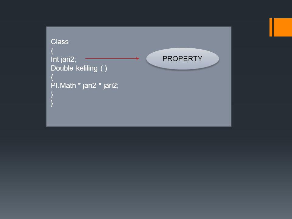 Class { Int jari2; Double keliling ( ) { PI.Math * jari2 * jari2; } PROPERTY