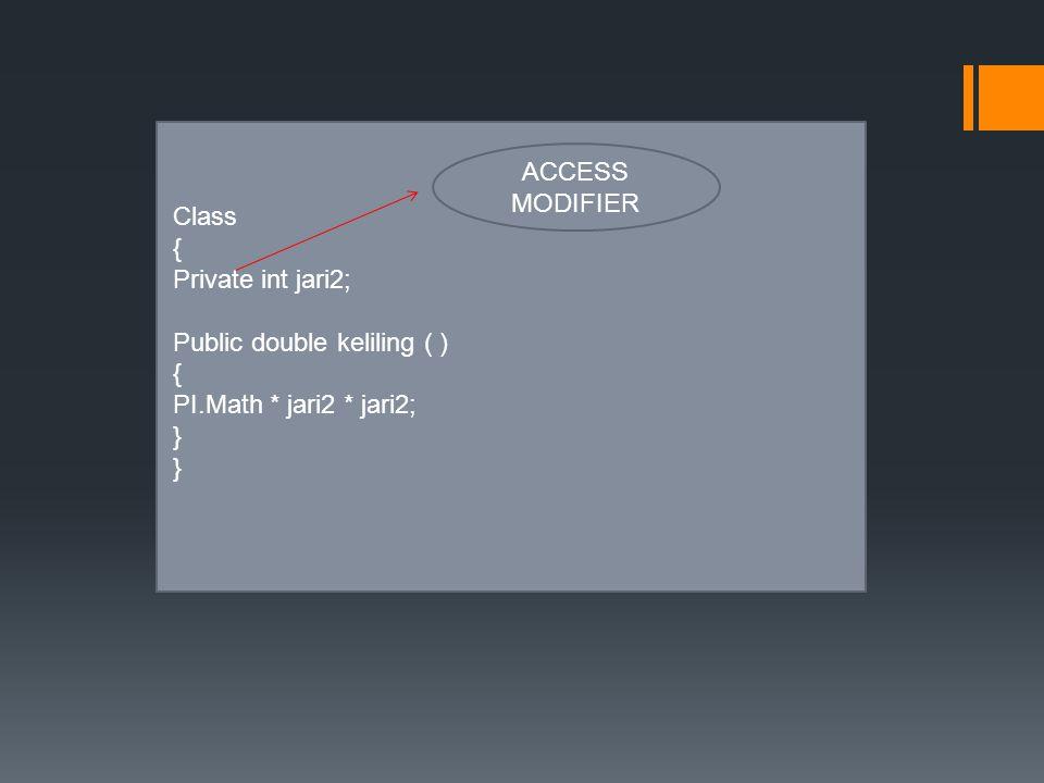 Class { Private int jari2; Public double keliling ( ) { PI.Math * jari2 * jari2; } ACCESS MODIFIER